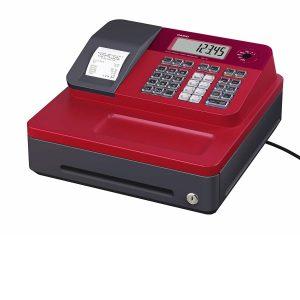 Caja registradora Casio roja y negra