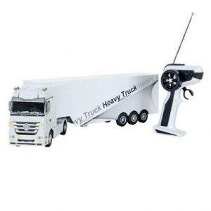 Camión radiocontrol con remolque blanco
