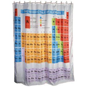 Cortina para la ducha con tabla periódica
