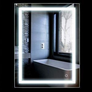 Espejo con luz LED y botones táctiles sensibles
