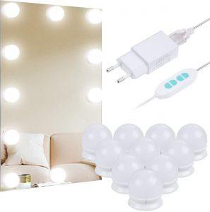 Espejo con luz LED y cinta adhesiva