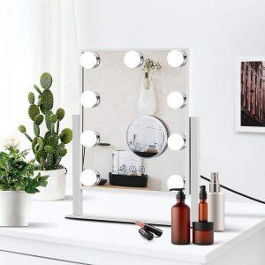 Espejo con luz LED y control táctil
