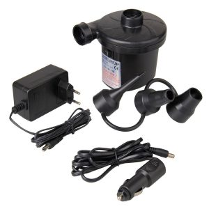 Inflador eléctrico con tres accesorios