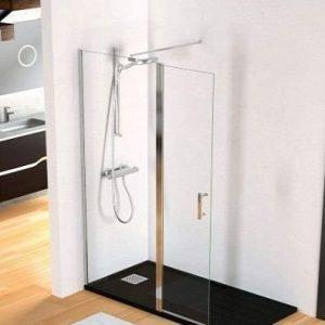 Mampara de ducha fija y puerta abatible