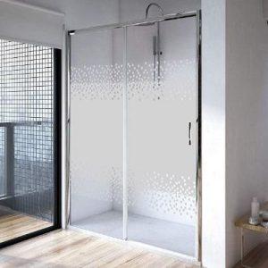 Mampara de ducha fija y puerta corredera