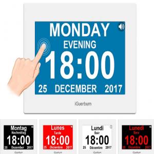 Reloj parlante táctil con calendario