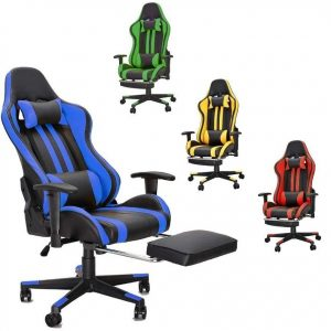 Silla gaming con reposapiés transpirable