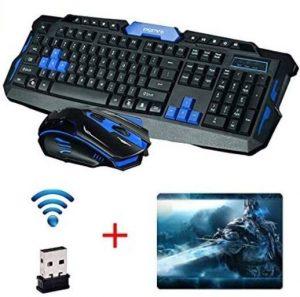 Teclado gaming inalámbrico con ratón de golf y mousepad incluidos